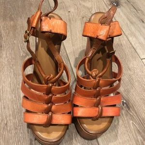 Chloe Leather Cage Wedges Sandal